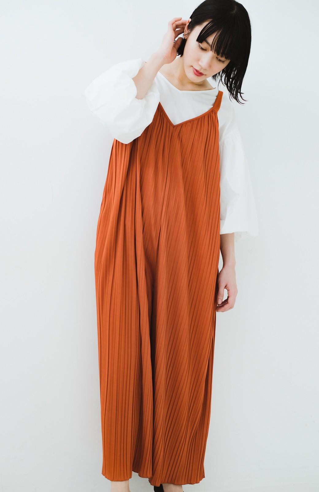 haco! 旅行にも便利なプリーツデザインオールインワン <オレンジ>の商品写真11