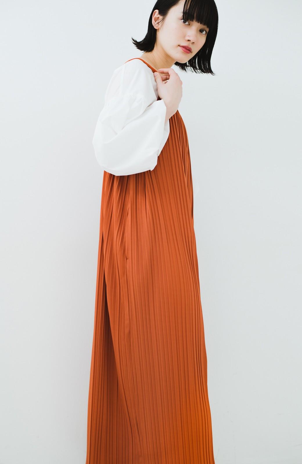 haco! 旅行にも便利なプリーツデザインオールインワン <オレンジ>の商品写真13
