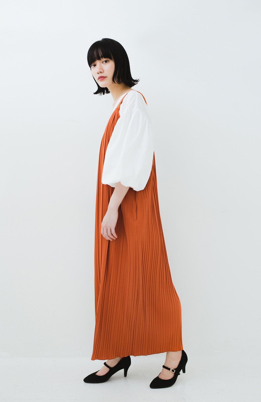 haco! 旅行にも便利なプリーツデザインオールインワン <オレンジ>の商品写真8