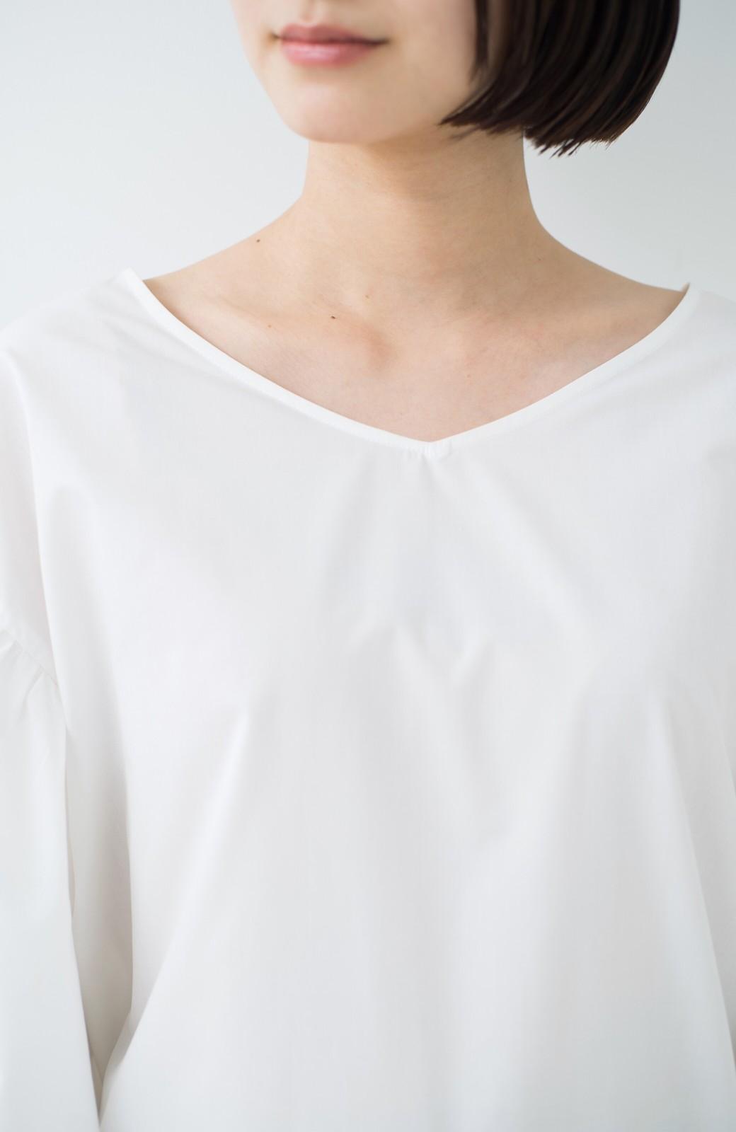 haco! Tシャツのかわりに着たい バルーンスリーブブラウス by que made me <ホワイト>の商品写真2