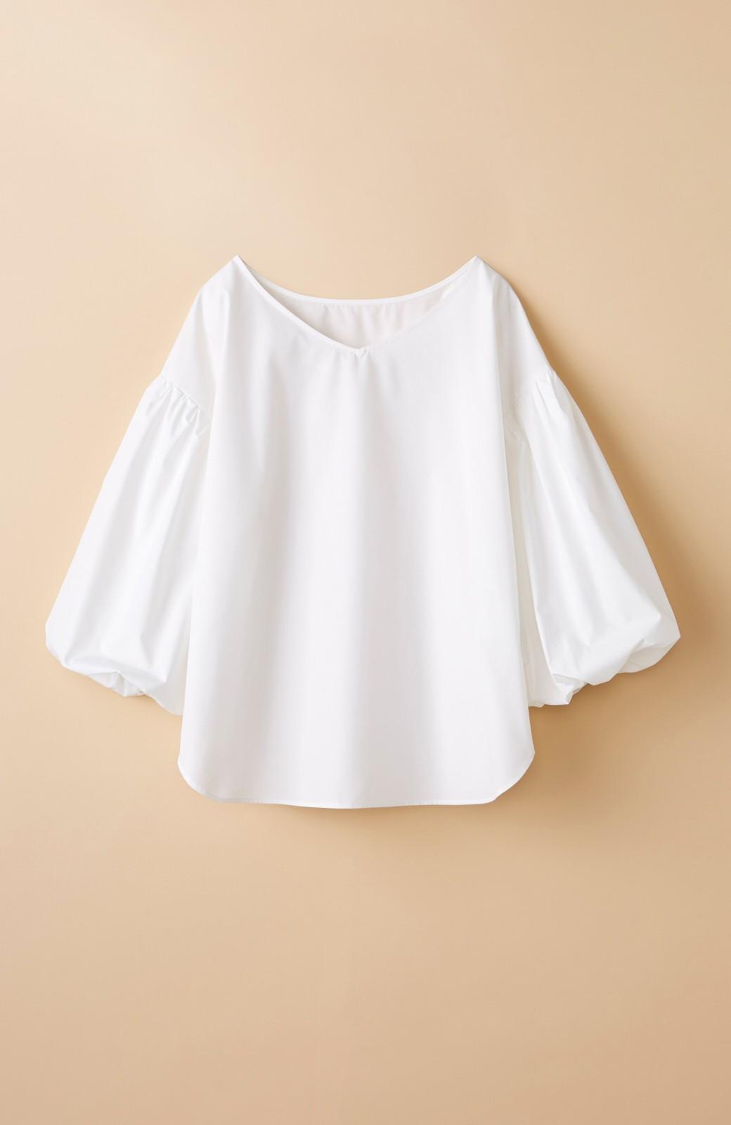 haco! Tシャツのかわりに着たい バルーンスリーブブラウス by que made me <ホワイト>の商品写真1