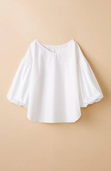 haco! Tシャツのかわりに着たい バルーンスリーブブラウス by que made me <ホワイト>の商品写真