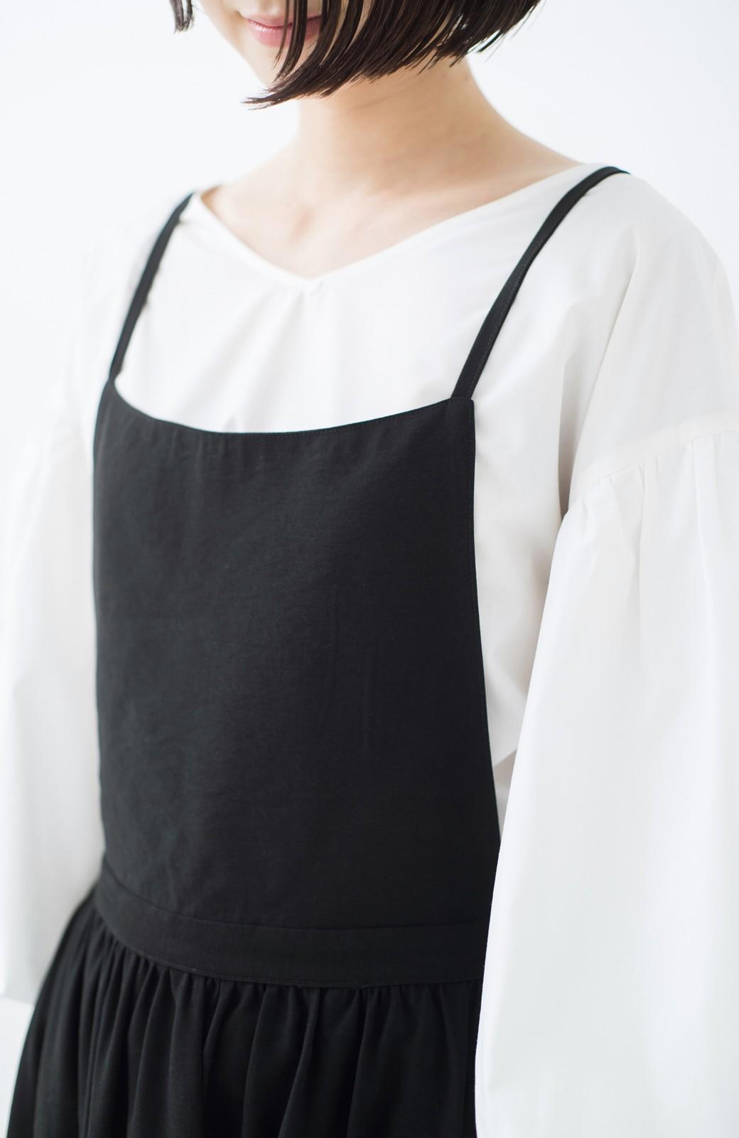haco! シンプルな服に合わせるだけでかわいいエプロンワンピース <ブラック>の商品写真3