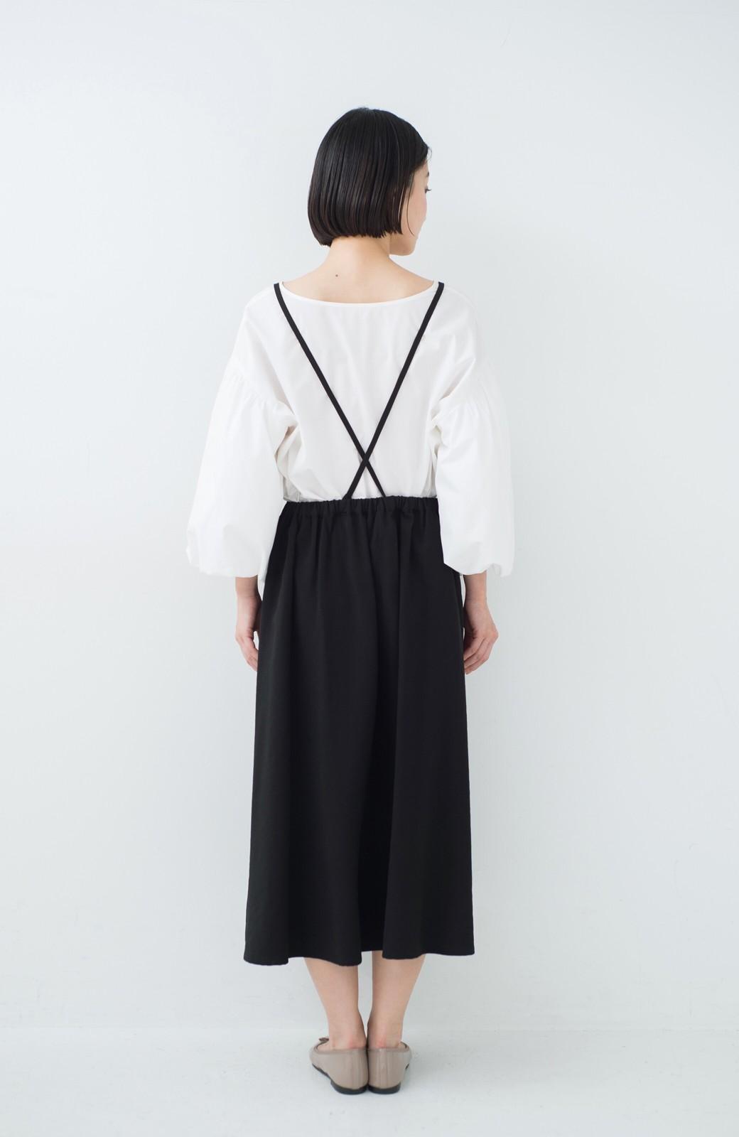 haco! シンプルな服に合わせるだけでかわいいエプロンワンピース <ブラック>の商品写真8