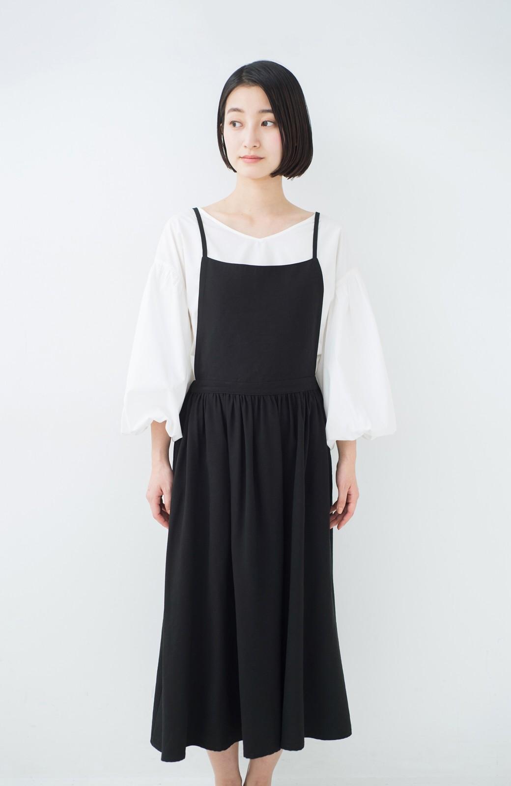 haco! シンプルな服に合わせるだけでかわいいエプロンワンピース <ブラック>の商品写真9