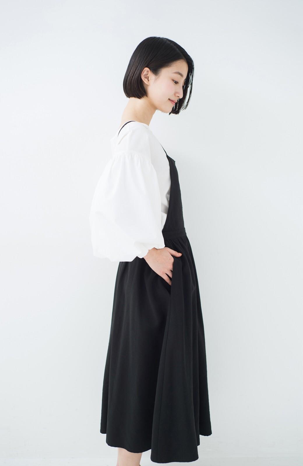 haco! シンプルな服に合わせるだけでかわいいエプロンワンピース <ブラック>の商品写真10