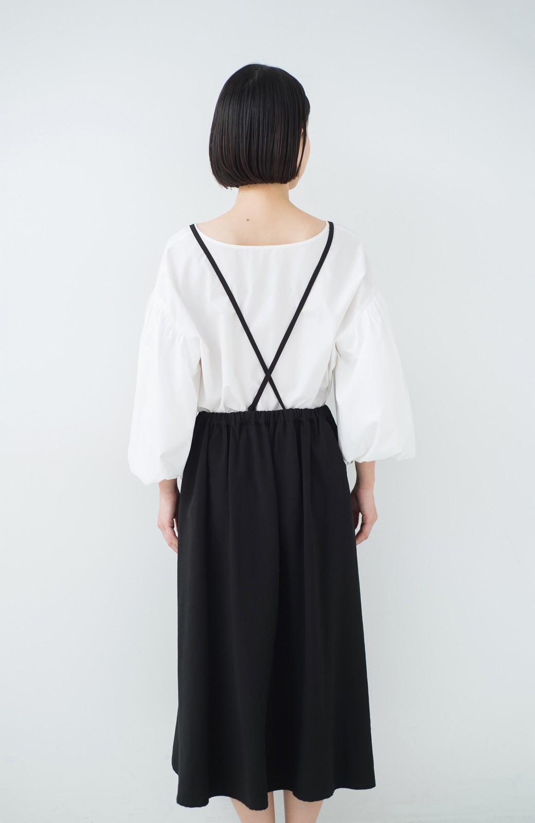 haco! シンプルな服に合わせるだけでかわいいエプロンワンピース <ブラック>の商品写真11