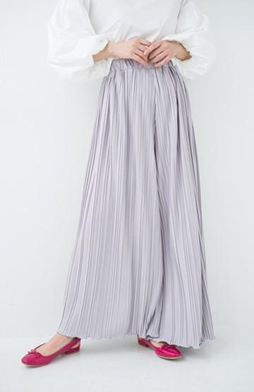 haco! パンツ派さんのデート着 ふんわり華やかなランダムプリーツパンツ <ライトグレー>の商品写真