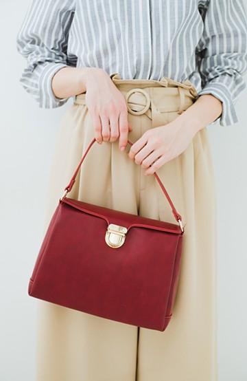 haco! クラシックな雰囲気が上品でかわいい お出かけバッグ <レッド>の商品写真