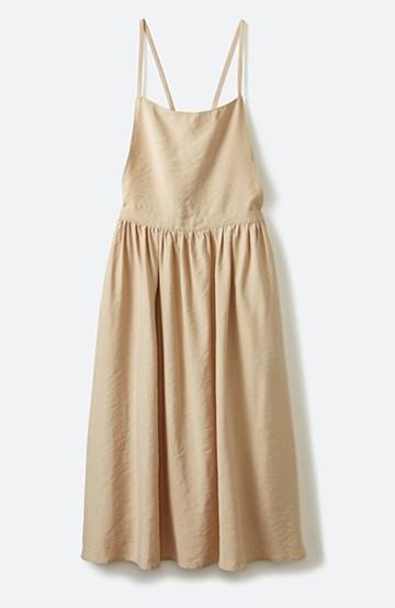 haco! シンプルな服に合わせるだけでかわいいエプロンワンピース <ベージュ>の商品写真