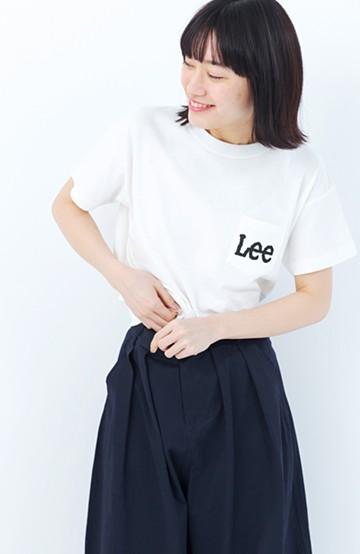 haco! Lady Lee ポケットロゴクルーネックT  <ホワイト>の商品写真