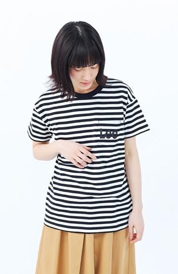haco! Lady Lee ポケットロゴクルーネックT  <ブラック×ホワイト>の商品写真