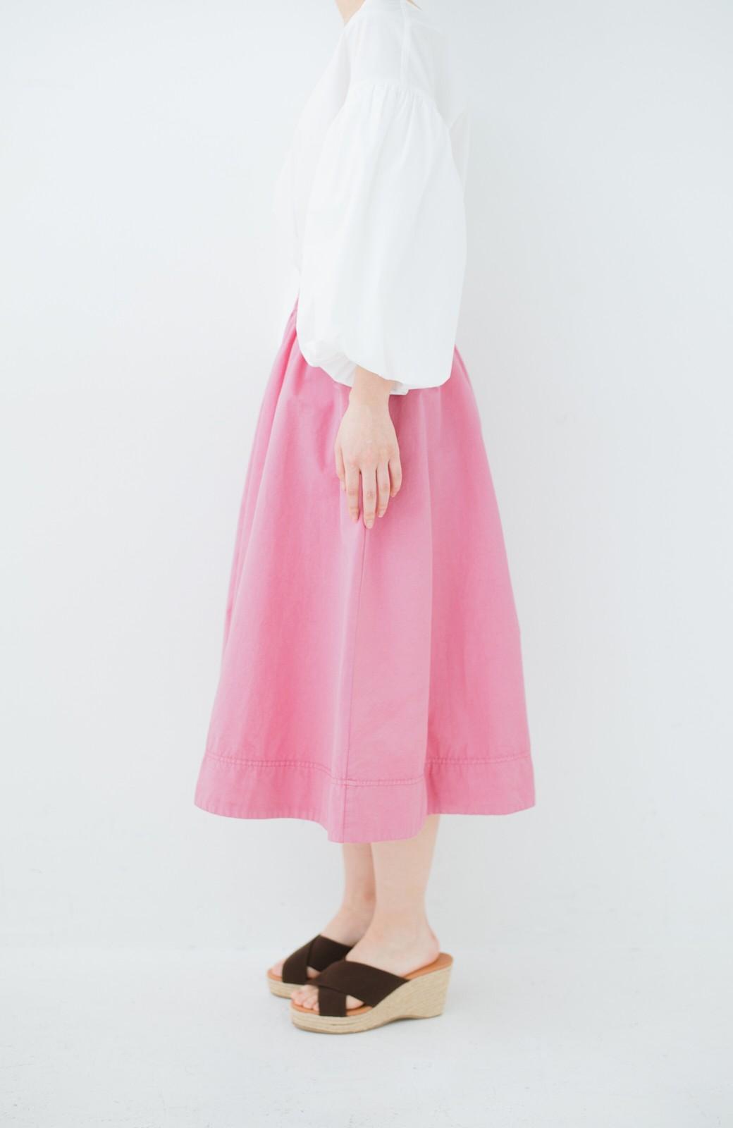 haco! 花や野菜を使って染めた 楽ちんキレイなフレアースカート <ピンク>の商品写真3