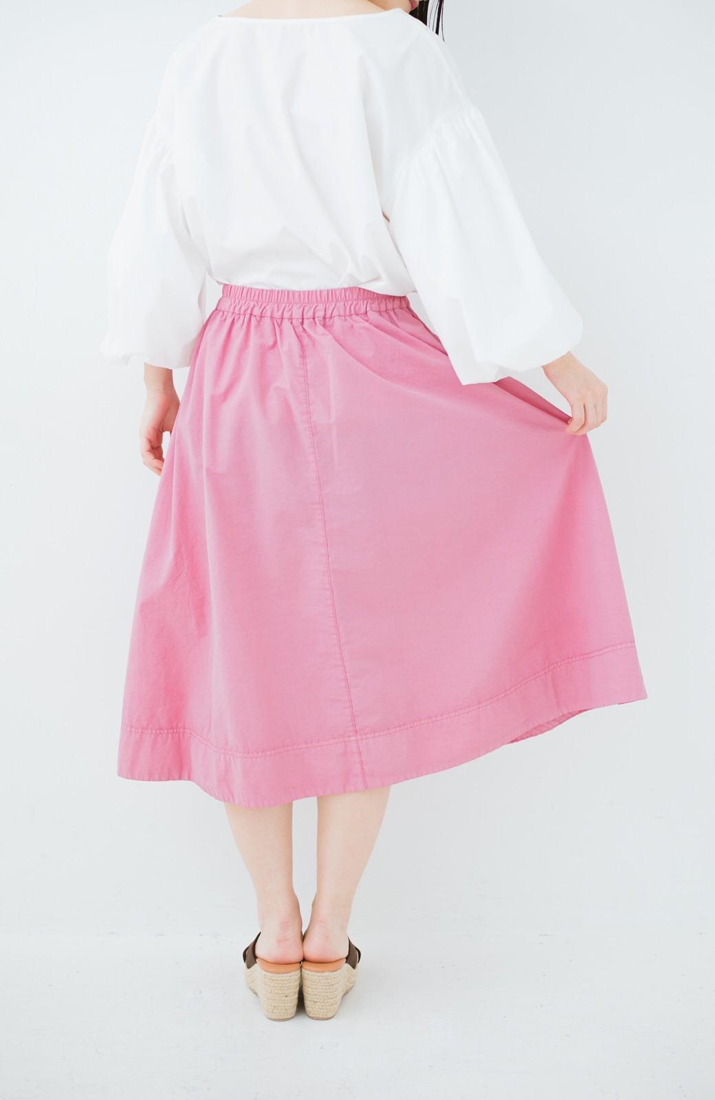 haco! 花や野菜を使って染めた 楽ちんキレイなフレアースカート <ピンク>の商品写真4