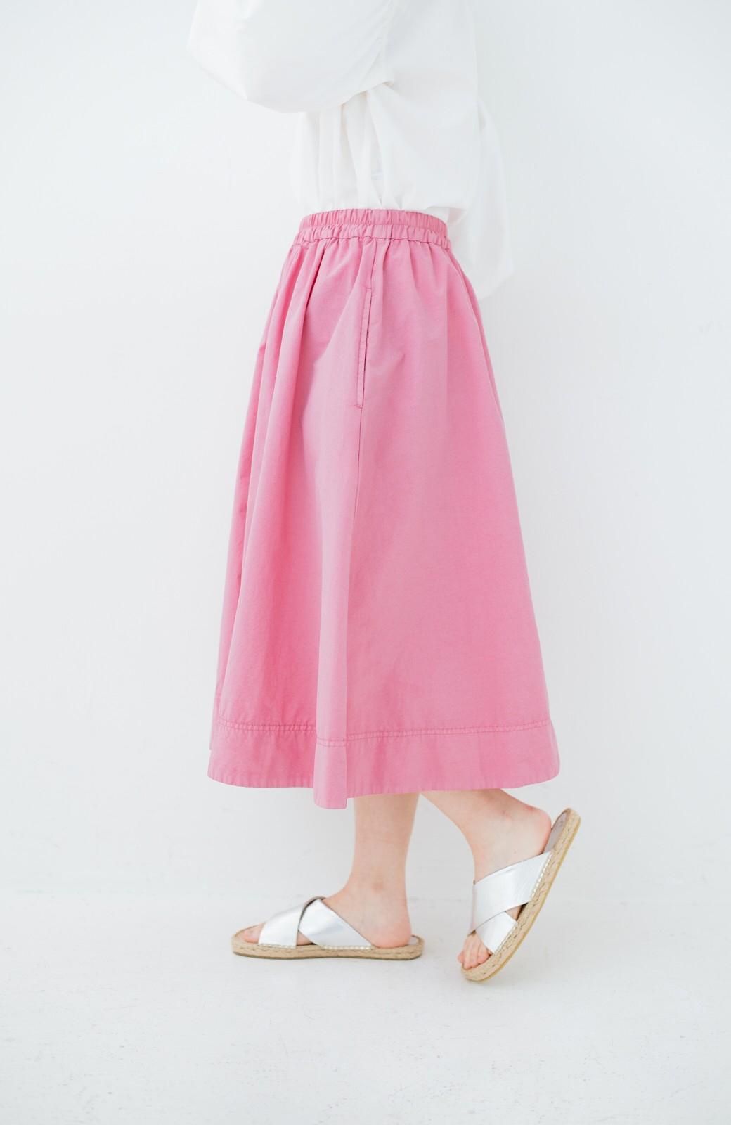 haco! 花や野菜を使って染めた 楽ちんキレイなフレアースカート <ピンク>の商品写真5