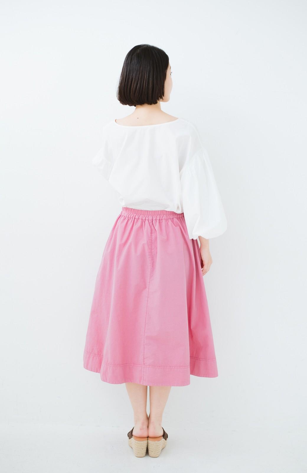 haco! 花や野菜を使って染めた 楽ちんキレイなフレアースカート <ピンク>の商品写真12