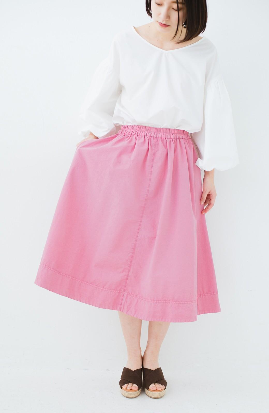 haco! 花や野菜を使って染めた 楽ちんキレイなフレアースカート <ピンク>の商品写真13