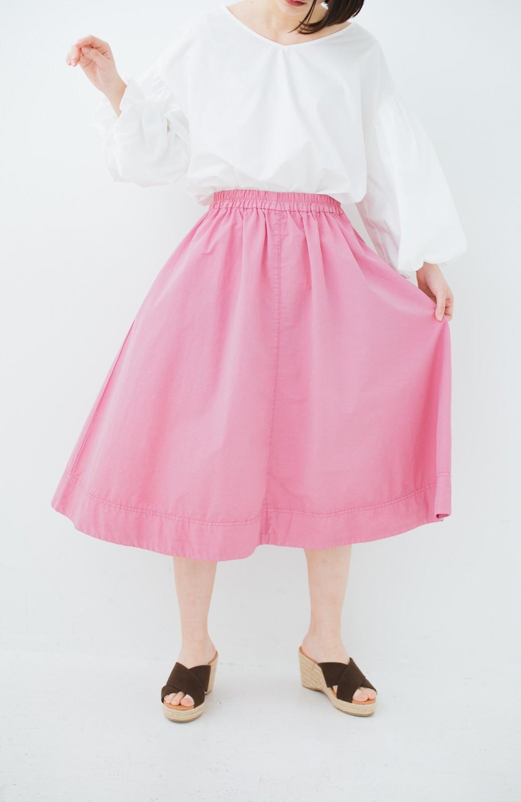 haco! 花や野菜を使って染めた 楽ちんキレイなフレアースカート <ピンク>の商品写真14