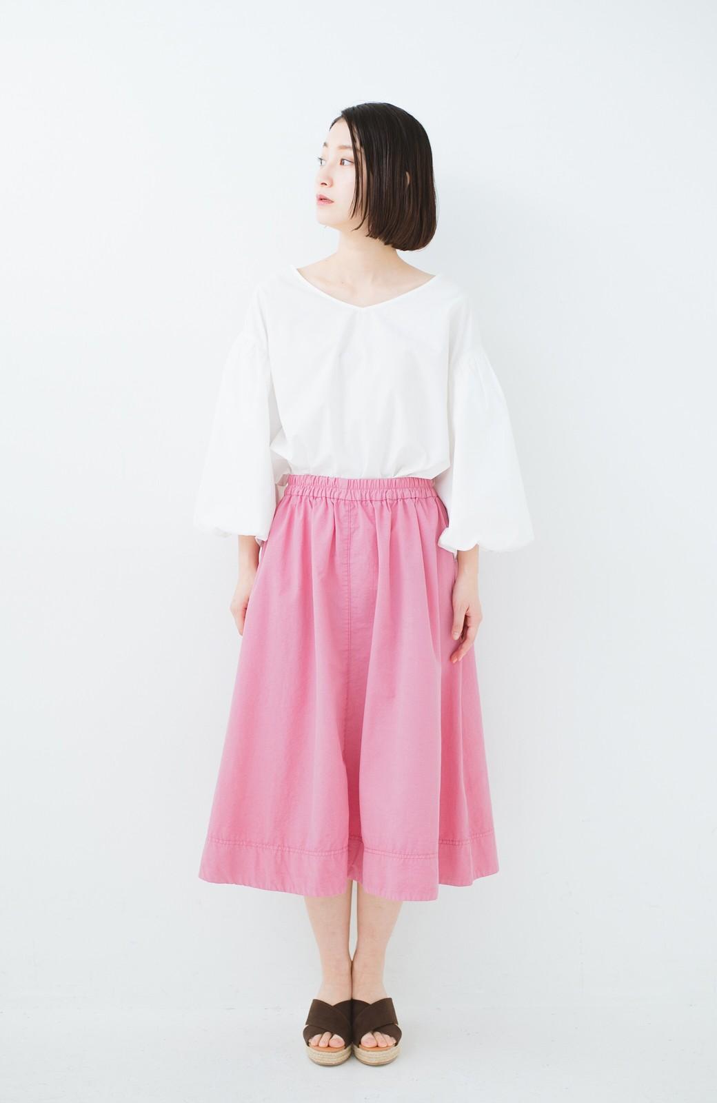 haco! 花や野菜を使って染めた 楽ちんキレイなフレアースカート <ピンク>の商品写真8