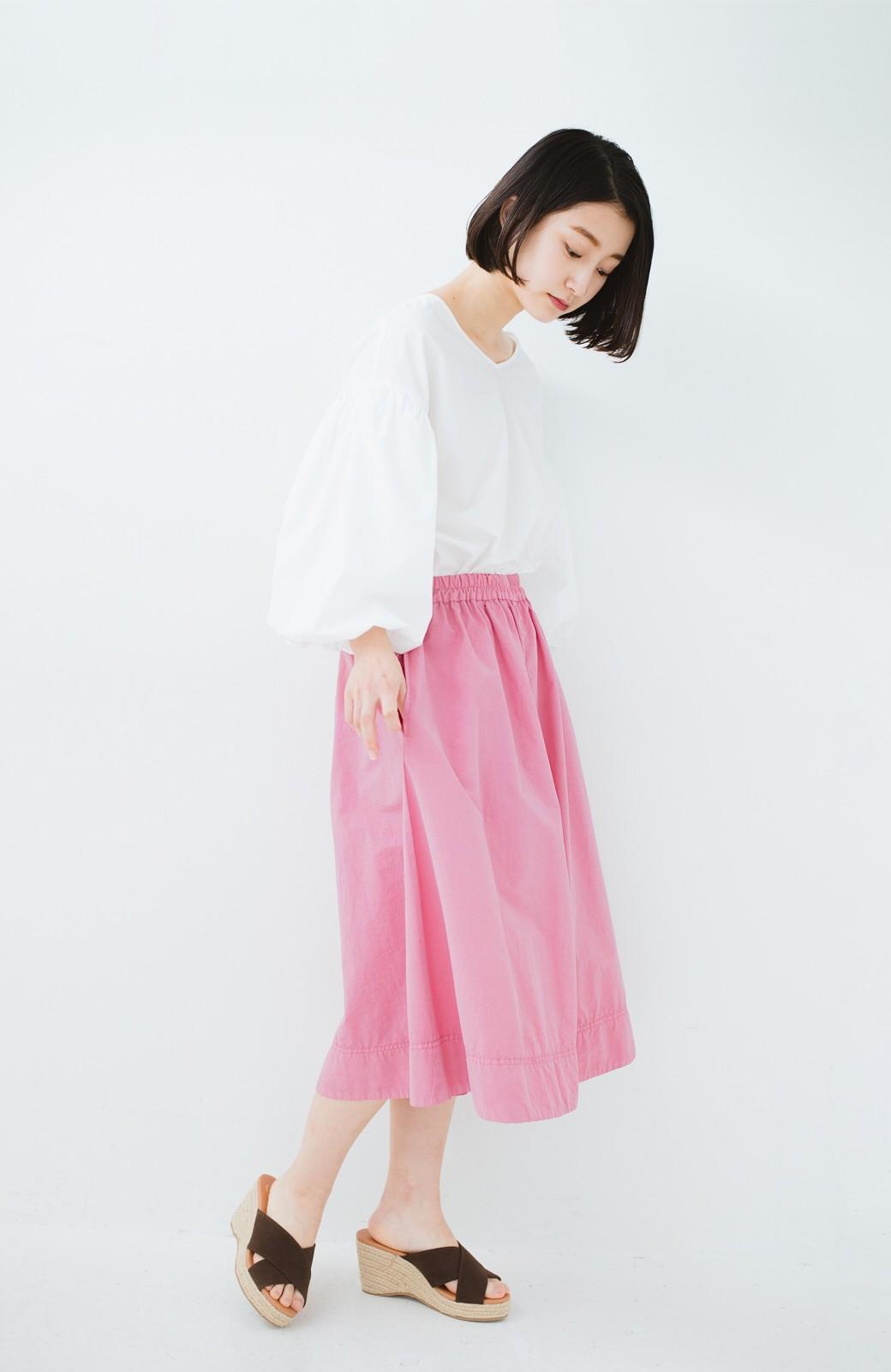 haco! 花や野菜を使って染めた 楽ちんキレイなフレアースカート <ピンク>の商品写真9