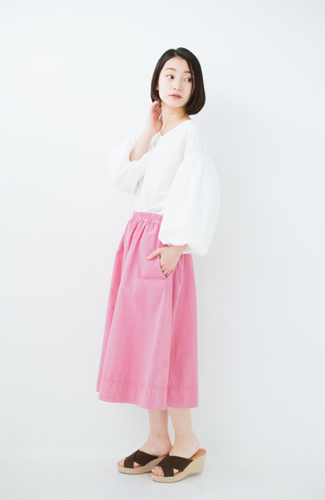 haco! 花や野菜を使って染めた 楽ちんキレイなフレアースカート <ピンク>の商品写真10