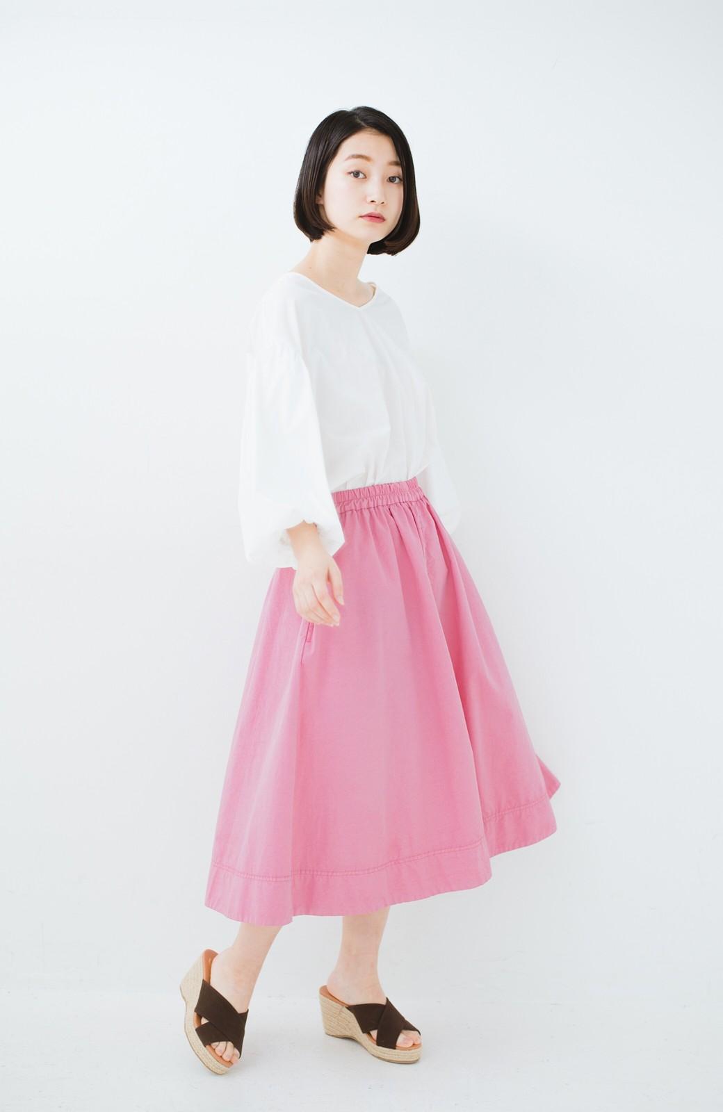 haco! 花や野菜を使って染めた 楽ちんキレイなフレアースカート <ピンク>の商品写真11