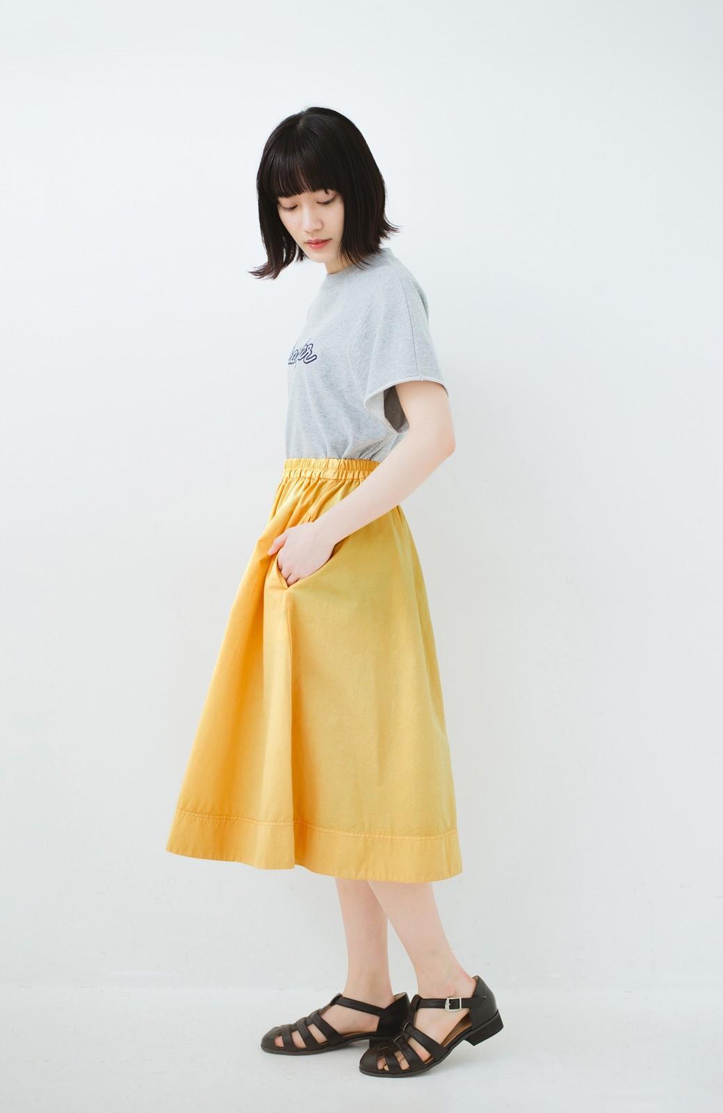 haco! 花や野菜を使って染めた 楽ちんキレイなフレアースカート <イエロー>の商品写真9