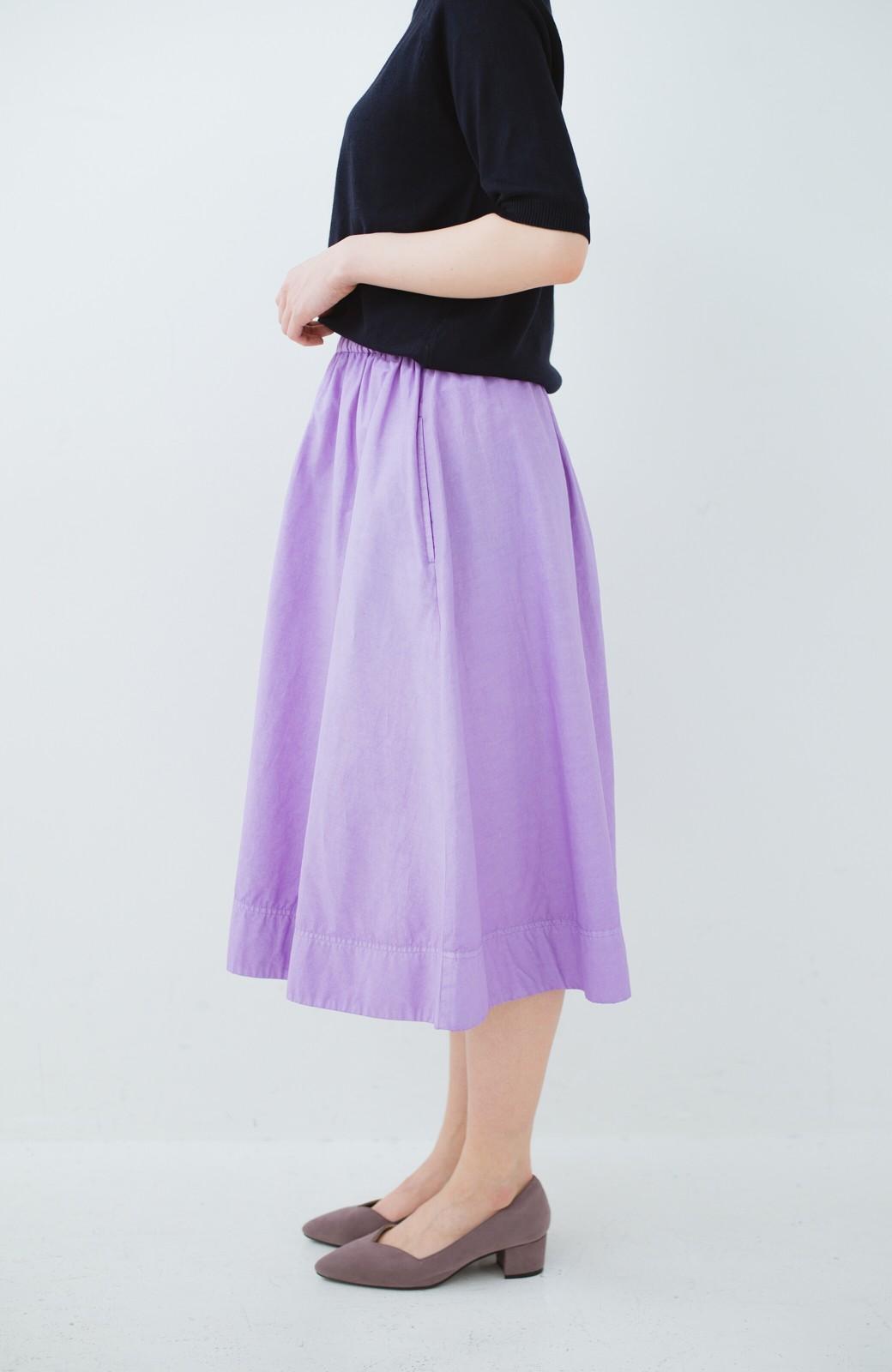 haco! 花や野菜を使って染めた 楽ちんキレイなフレアースカート <ラベンダー>の商品写真4