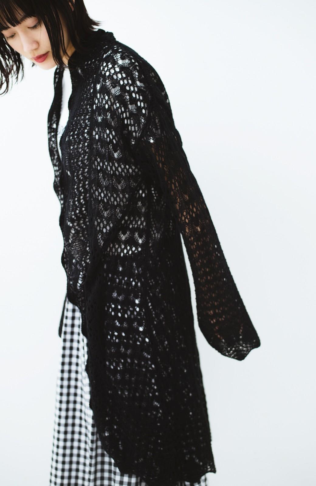 haco! いつものコーデにプラスワン!華やかコーデが完成する かぎ針編み風ロングカーディガン <ブラック>の商品写真11