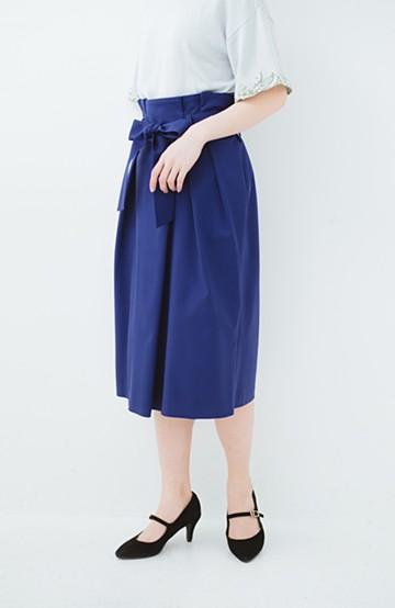 haco! こんな服着てデートしたい! ウエストリボンの女っぽスカート <ブルー>の商品写真