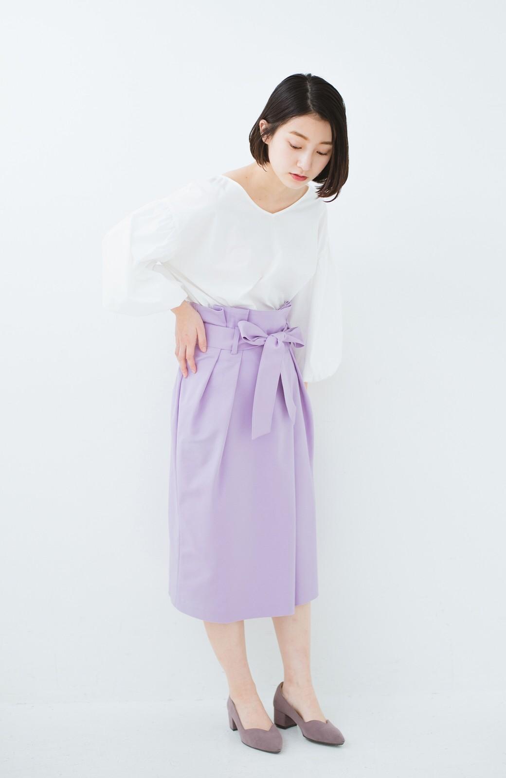 haco! こんな服着てデートしたい! ウエストリボンの女っぽスカート <ラベンダー>の商品写真7