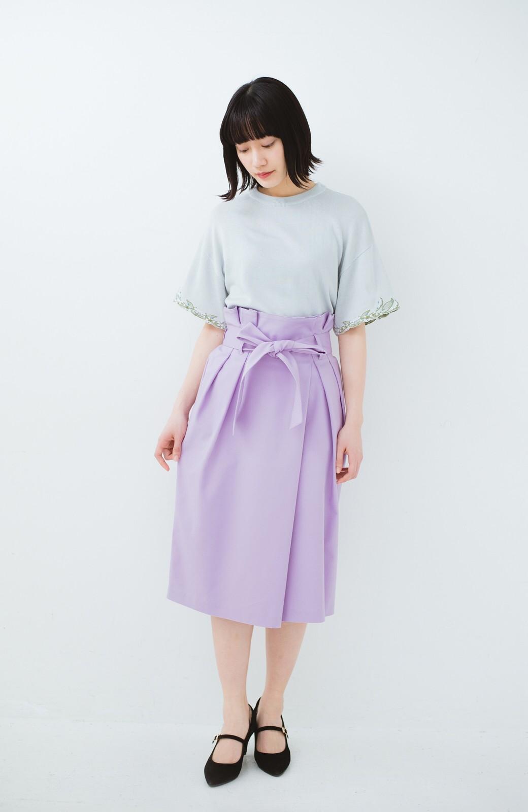 haco! こんな服着てデートしたい! ウエストリボンの女っぽスカート <ラベンダー>の商品写真8
