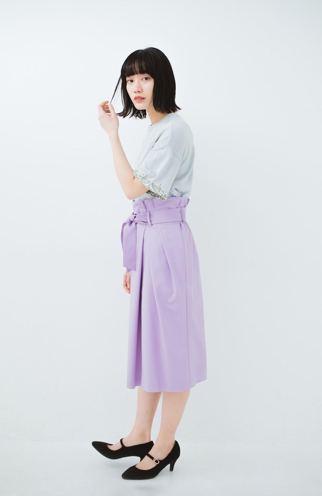 haco! こんな服着てデートしたい! ウエストリボンの女っぽスカート <ラベンダー>の商品写真12