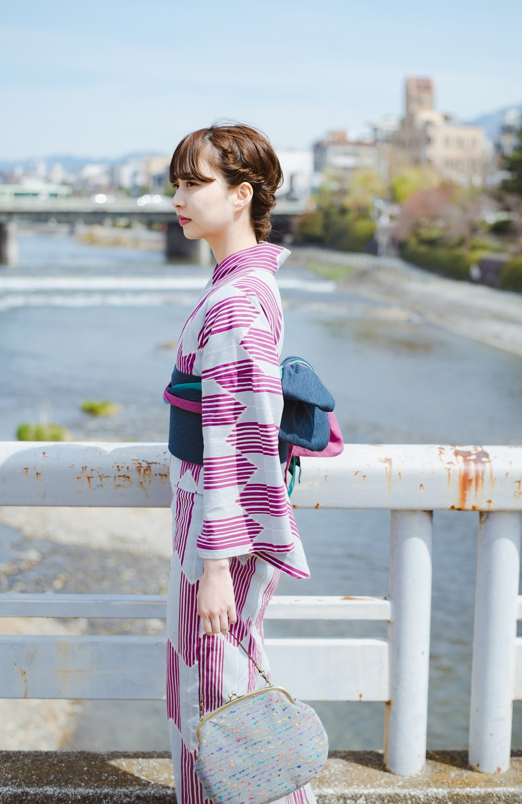 haco! ひでや工房 京都の3色へこ帯  <パープル系その他>の商品写真8