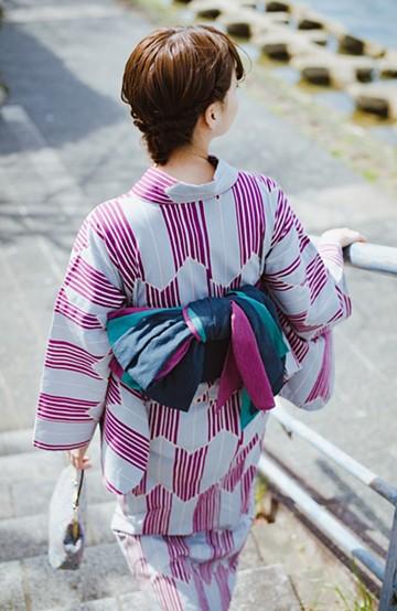 haco! ひでや工房 京都の3色へこ帯  <パープル系その他>の商品写真