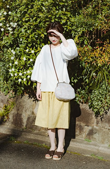 haco! 【コラボ3年目!】京都の浴衣屋さんと作った浴衣生地のスカート <イエロー>の商品写真