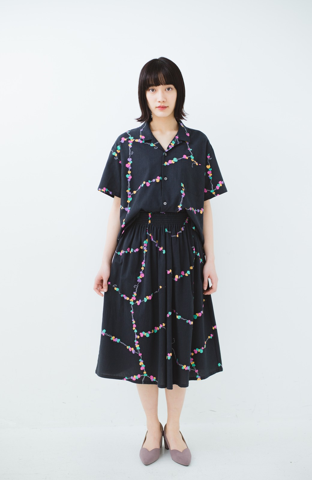 haco! 京都の浴衣屋さんと作った浴衣生地のスカート <ブラック系その他>の商品写真12