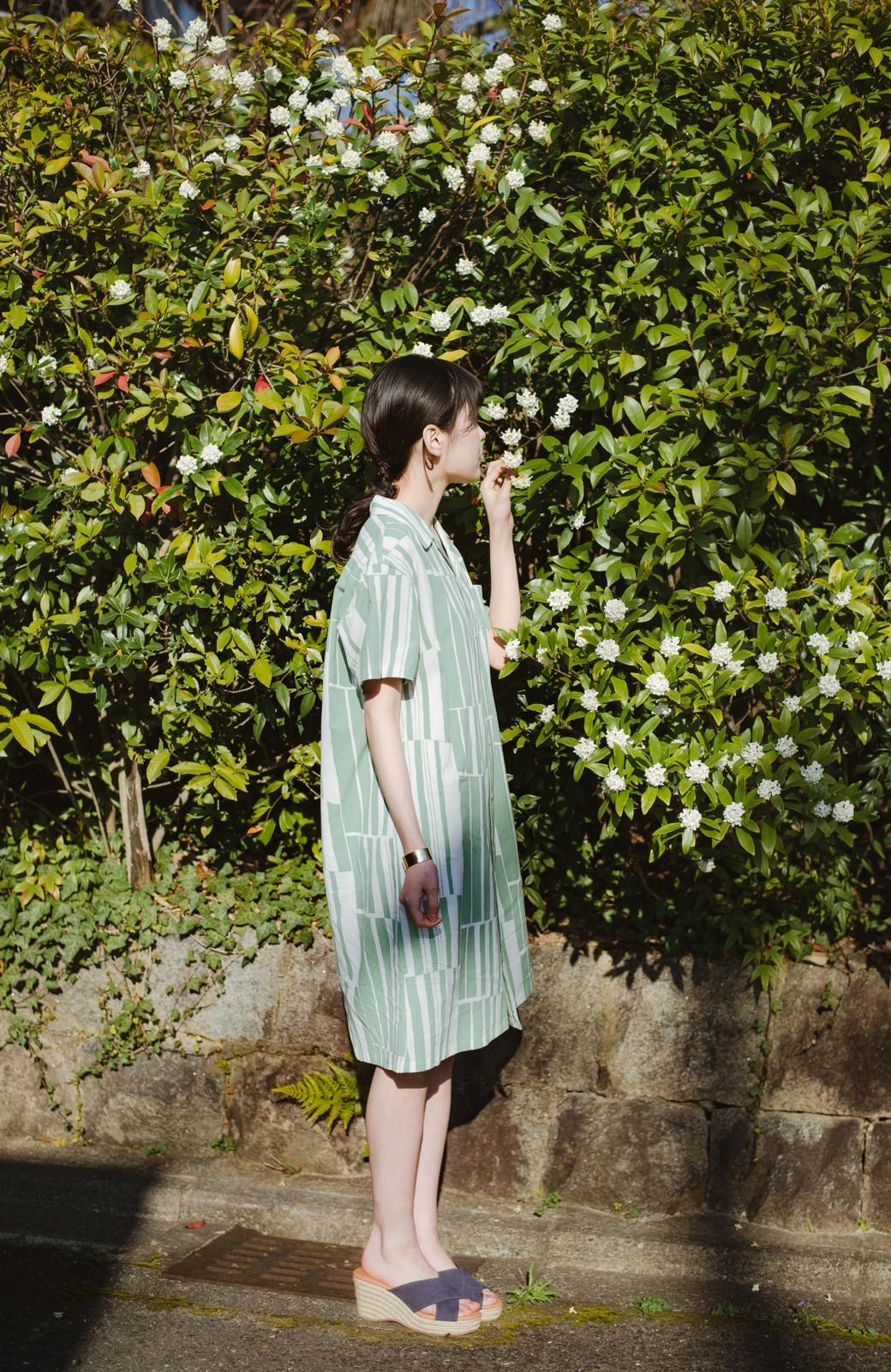 haco! 京都の浴衣屋さんと作った浴衣生地のシャツワンピース <グリーン系その他>の商品写真4