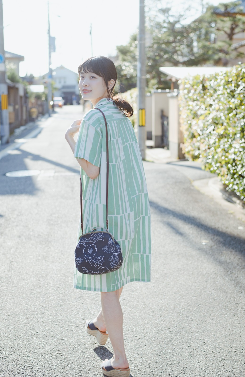 haco! 京都の浴衣屋さんと作った浴衣生地のシャツワンピース <グリーン系その他>の商品写真5
