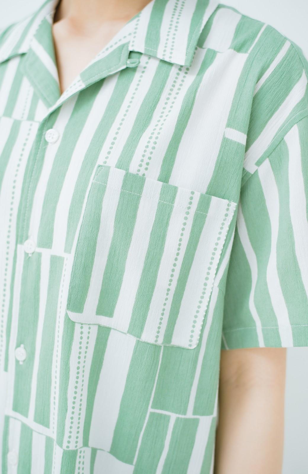 haco! 京都の浴衣屋さんと作った浴衣生地のシャツワンピース <グリーン系その他>の商品写真7