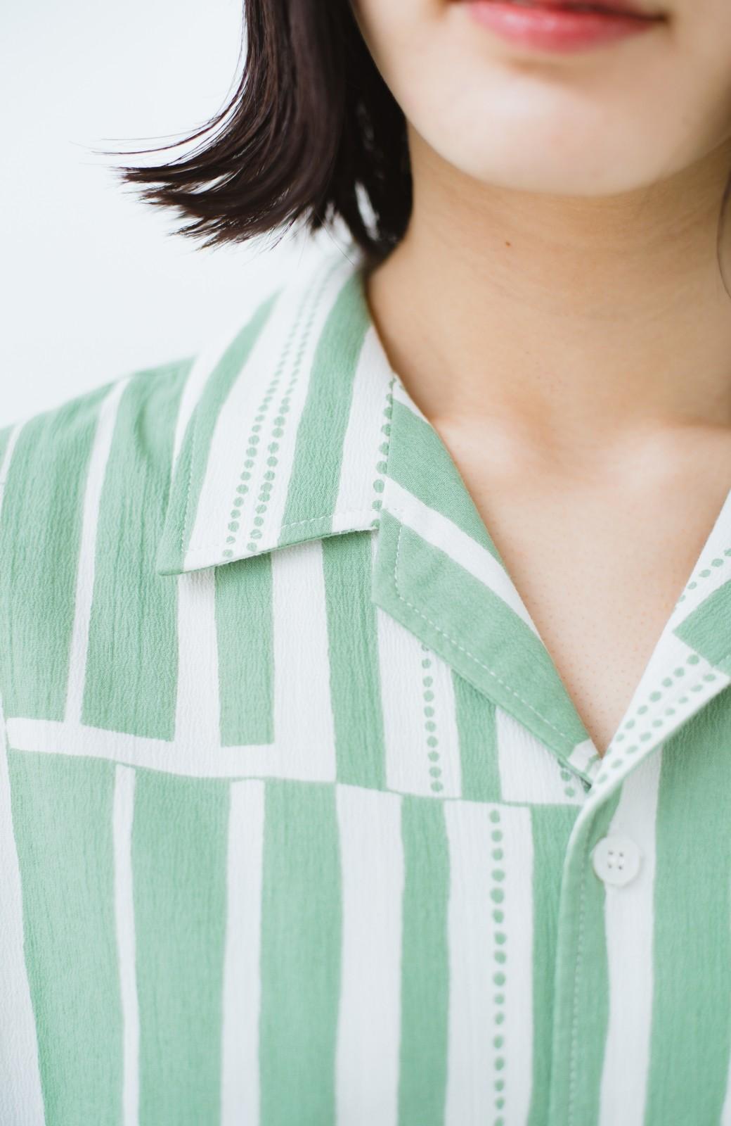 haco! 京都の浴衣屋さんと作った浴衣生地のシャツワンピース <グリーン系その他>の商品写真8