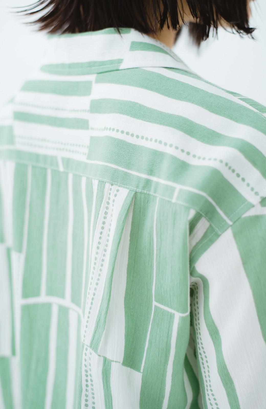 haco! 京都の浴衣屋さんと作った浴衣生地のシャツワンピース <グリーン系その他>の商品写真10