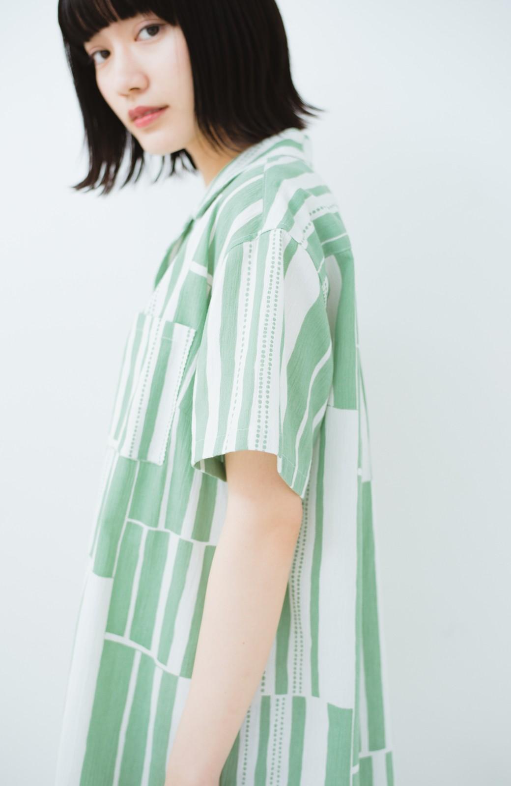 haco! 京都の浴衣屋さんと作った浴衣生地のシャツワンピース <グリーン系その他>の商品写真11