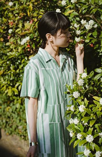 haco! 京都の浴衣屋さんと作った浴衣生地のシャツワンピース <グリーン系その他>の商品写真