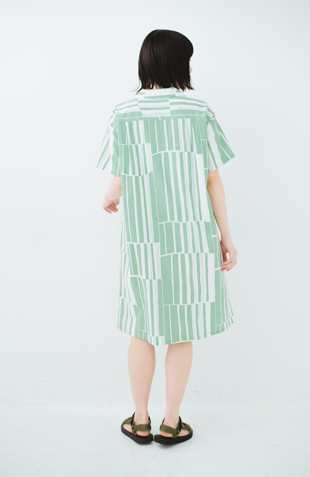 haco! 京都の浴衣屋さんと作った浴衣生地のシャツワンピース <グリーン系その他>の商品写真15