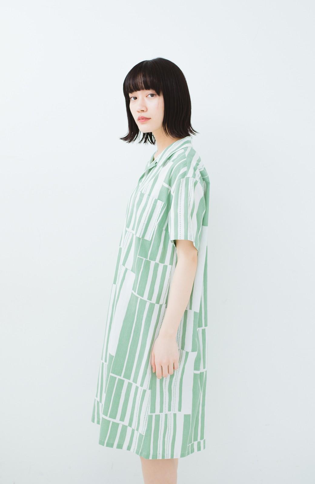 haco! 京都の浴衣屋さんと作った浴衣生地のシャツワンピース <グリーン系その他>の商品写真16