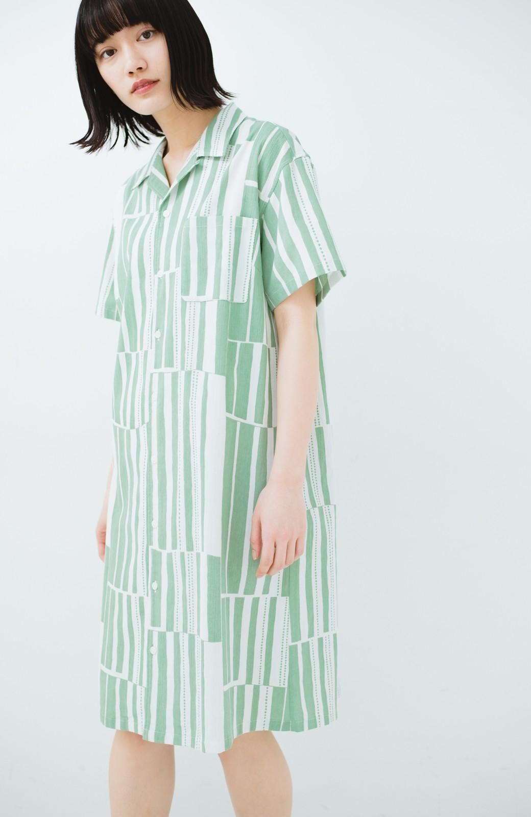 haco! 京都の浴衣屋さんと作った浴衣生地のシャツワンピース <グリーン系その他>の商品写真17