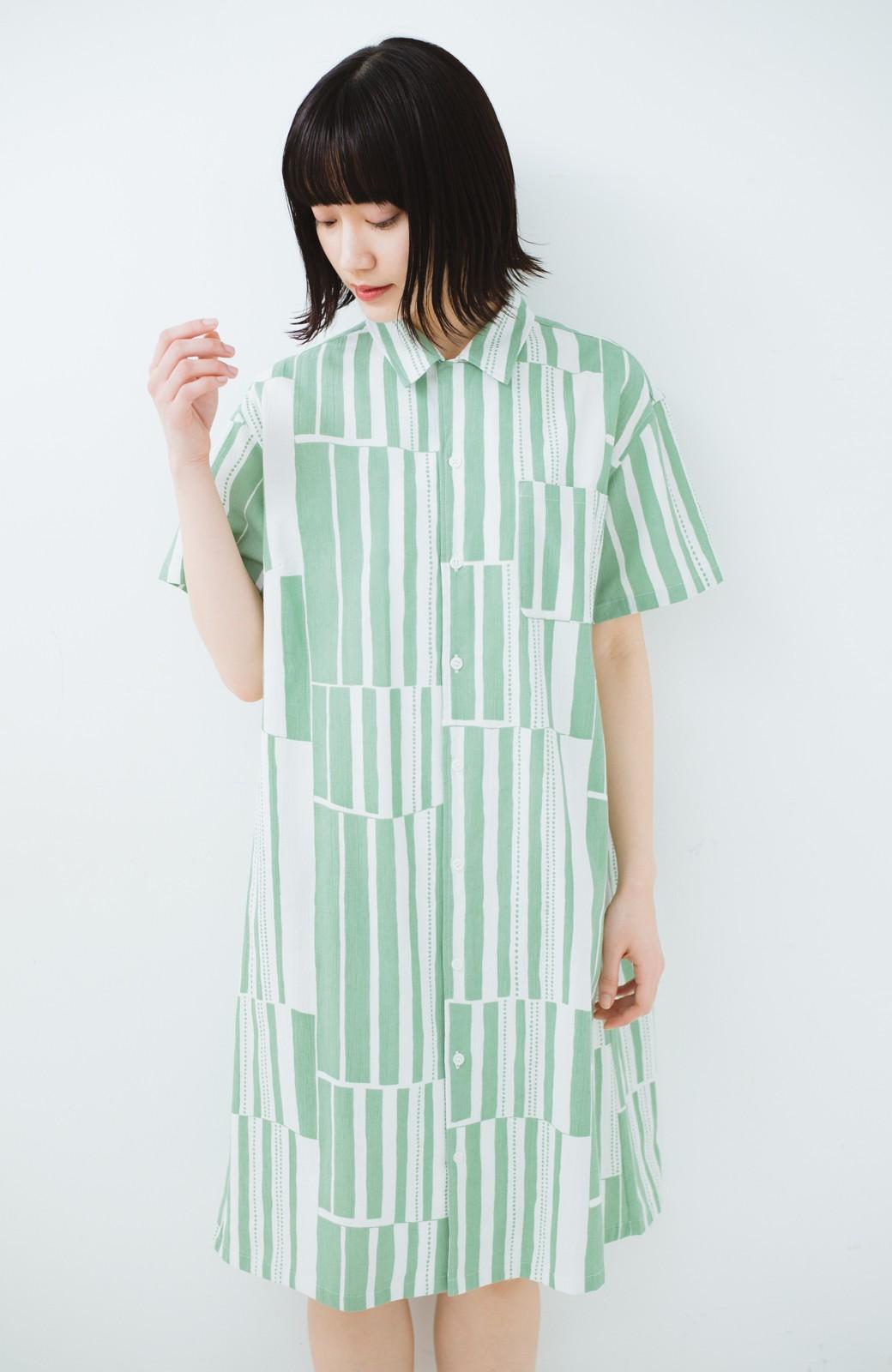 haco! 京都の浴衣屋さんと作った浴衣生地のシャツワンピース <グリーン系その他>の商品写真18