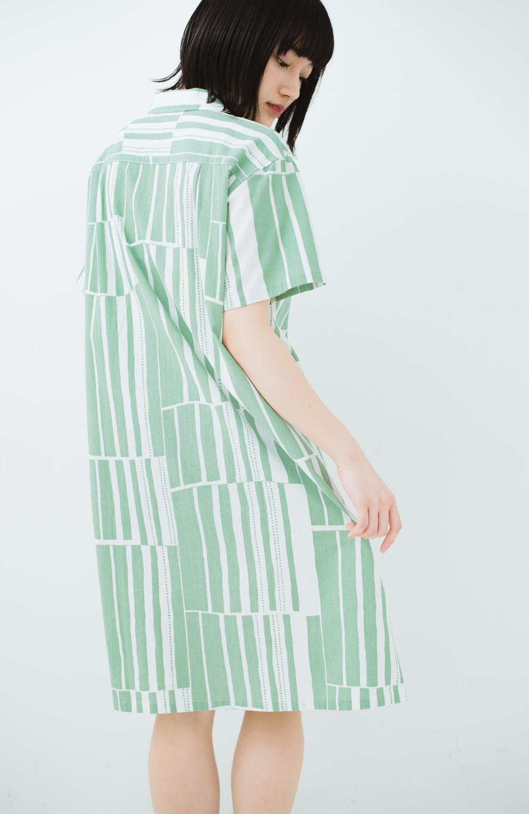 haco! 京都の浴衣屋さんと作った浴衣生地のシャツワンピース <グリーン系その他>の商品写真19