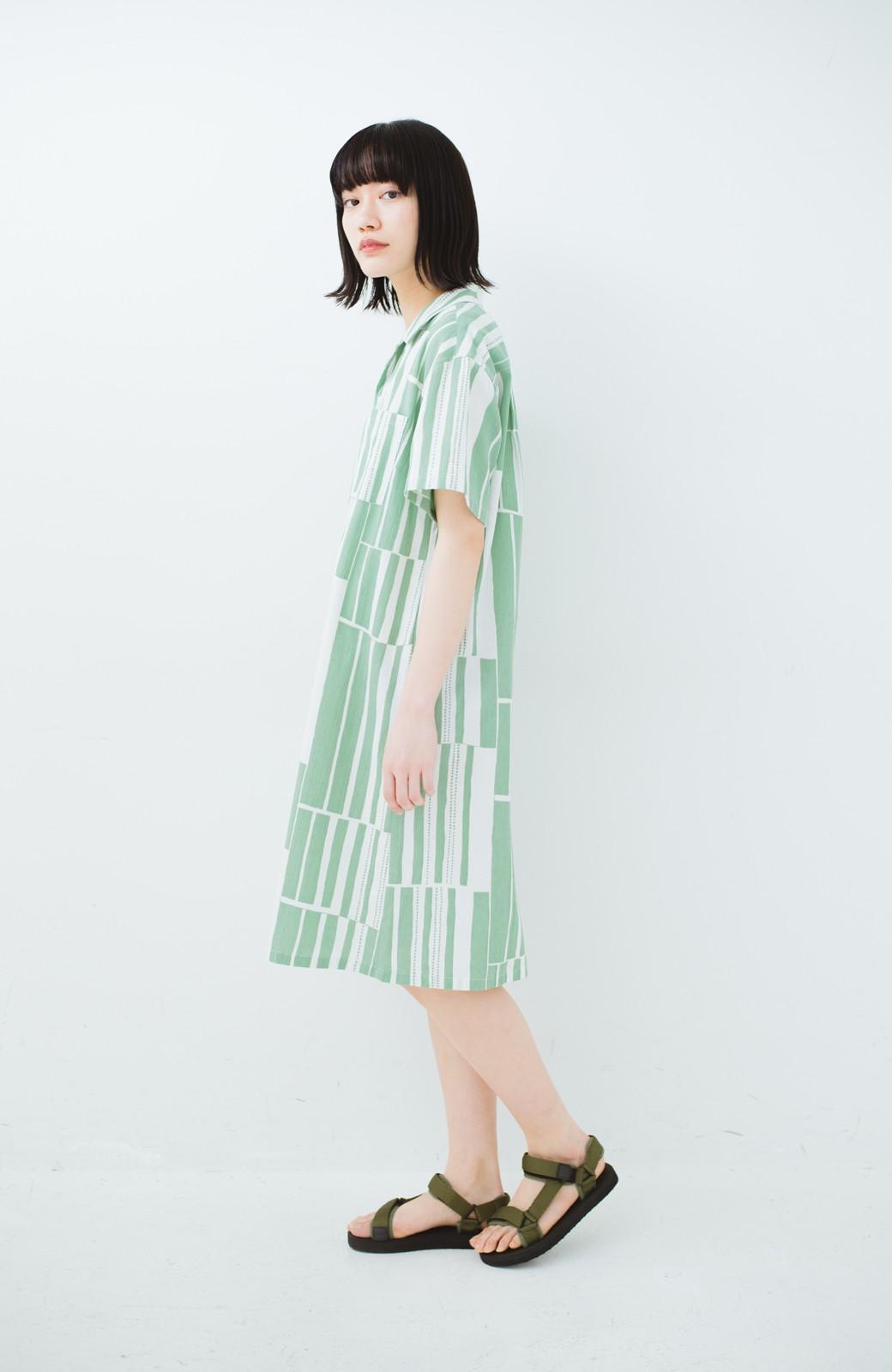 haco! 京都の浴衣屋さんと作った浴衣生地のシャツワンピース <グリーン系その他>の商品写真13